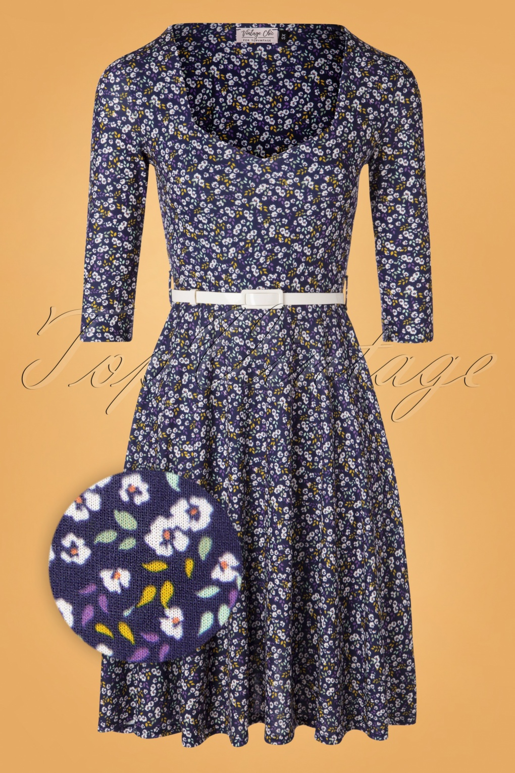 8ce2ec80dd41ae 50s Briella Floral Swing Dress in Navy