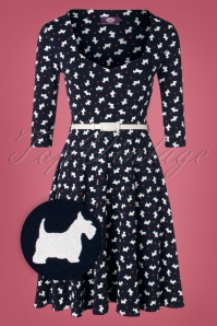 50s Briella Scotty Dog Swing Dress in Dark Blue