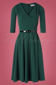 Vintage Chic 31170 Swingdress Green Forest Scuba Crepe 08 0003W