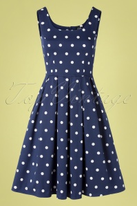 50s Amanda Polkadot Swing Dress in Navy