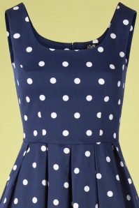 Dolly Dotty 29143 Swingdress Navy Polkadots White 08 0001V