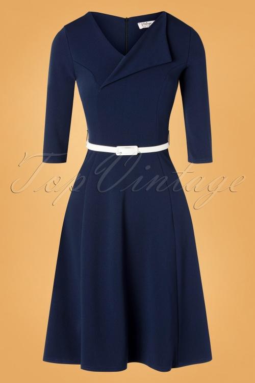 vintage Chic 31155 Swing dress Navy20190709 003W