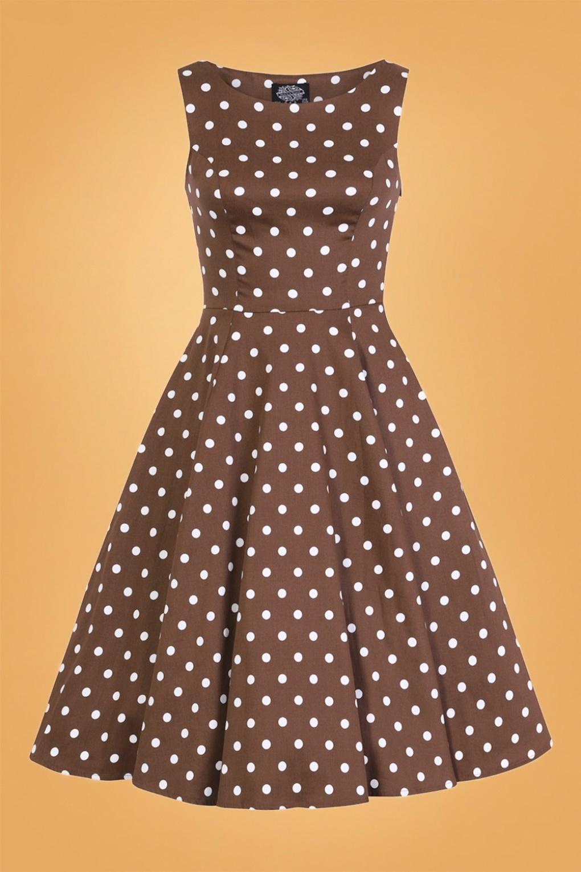 Rockabilly Dresses | Rockabilly Clothing | Viva Las Vegas 50s Cindy Polkadot Swing Dress in Chocolate Brown £41.63 AT vintagedancer.com