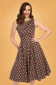 Hearts & Roses 50s Cindy Polkadot Swing Dress in Chocolate Brown