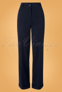 70s Garbo Broadway Pants in Night Sky Blue