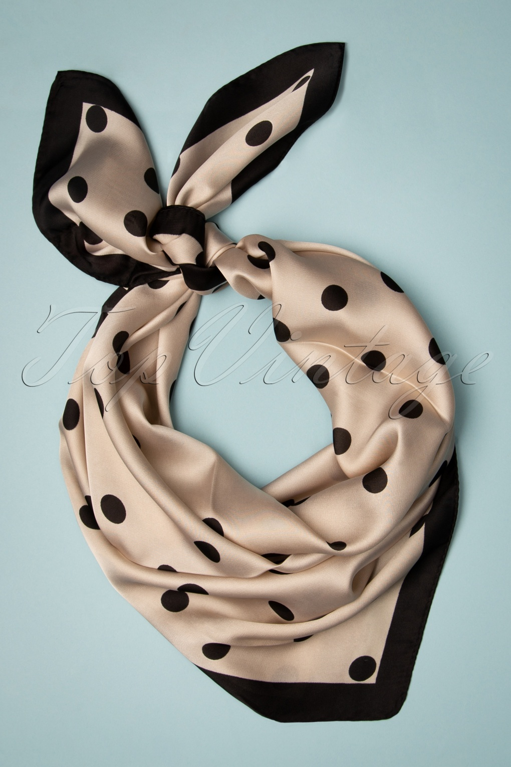 Vintage Scarf Styles -1920s to 1960s 50s Rozanne Polkadot Scarf in Cream £17.87 AT vintagedancer.com