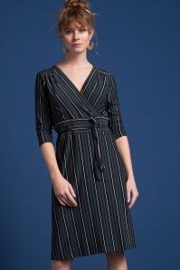 60s Cecil Elmore Stripe Dress in Black