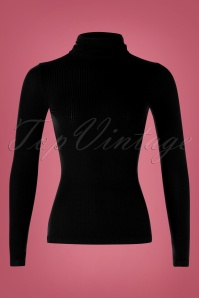 King Louie Rollneck Tencel Rib Top Années 70 en Noir