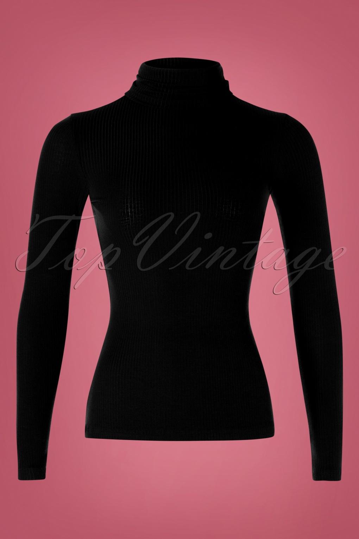 Women's 70s Shirts, Blouses, Hippie Tops 70s Rollneck Tencel Rib Top in Black �44.85 AT vintagedancer.com