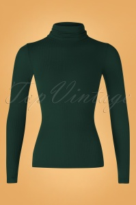 70s Rollneck Tencel Rib Top in Pine Green