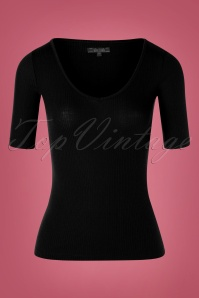 King Louie 60s Carice Tencel Rib V Top in Black