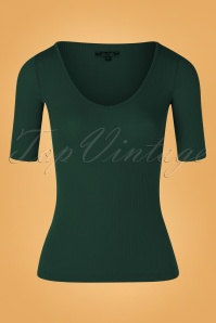 King Louie 60s Carice Tencel Rib V Top in Pine Green