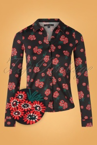 King Louie 29387 Blouse Black Fontana Flower 20190711 0002Z
