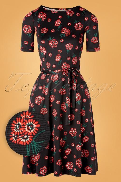 King Louie 29385 Swingdress Black Floral Red Betty Fontana 20190711 0003W1