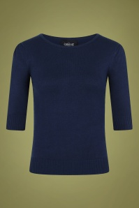 Collectif 29797 Chrissie Plain Knitted Top in Navy 20190430 021LW