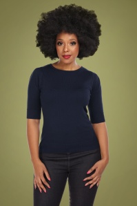 Collectif 29797 Chrissie Plain Knitted Top in Navy 20190430 020L