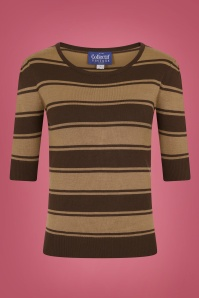 Collectif 29870 Chrissie Beetle Stripe Jumper in Brown 20190430 021LW