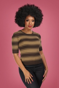 50s Chrissie Beetle Stripes Knitted Top in Brown
