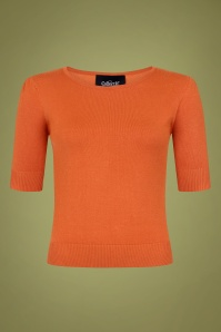 Collectif 29798 Chrissie Plain Knitted Top in Orange 20190430 021LW