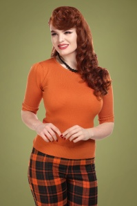 50s Chrissie Knitted Top in Orange