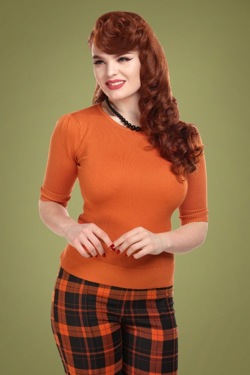 Collectif 29798 Chrissie Plain Knitted Top in Orange 20190430 020L