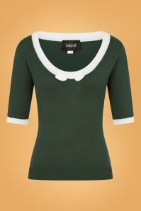 50s Freya Knitted Top in Green