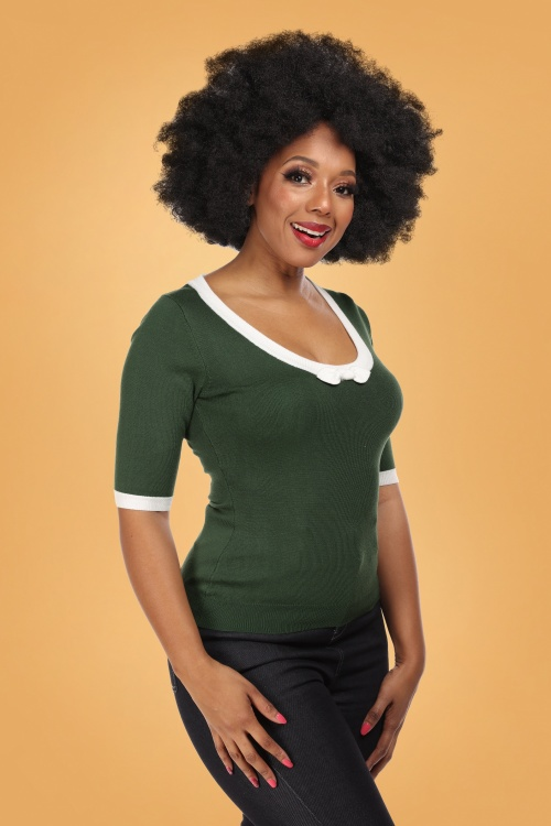Collectif 29801 Freya Knitted Top in Green 20190430 020L