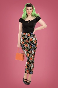 50s Bonnie Forest Floral Trousers in Black