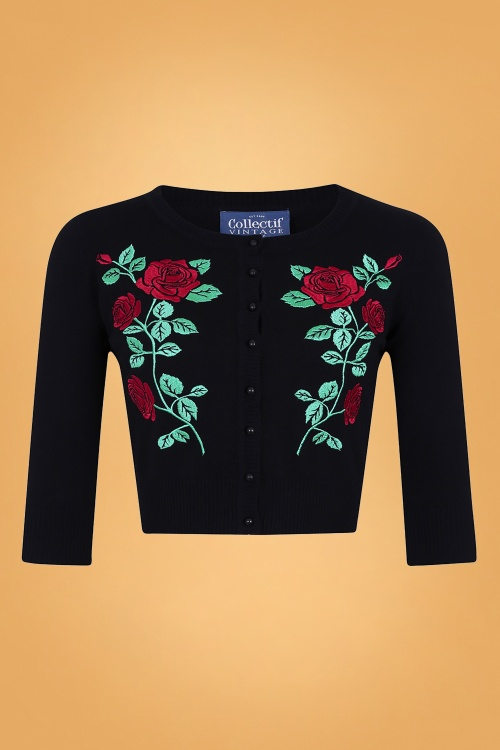 Collectif 29804 Lucy Dark Rose Cardigan in Black 20190430 021LW