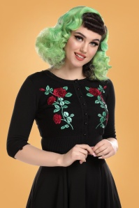 Collectif 29804 Lucy Dark Rose Cardigan in Black 20190430 020L