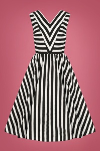 Collectif Clothing 50s Joanie Striped Swing Dress in Black and White