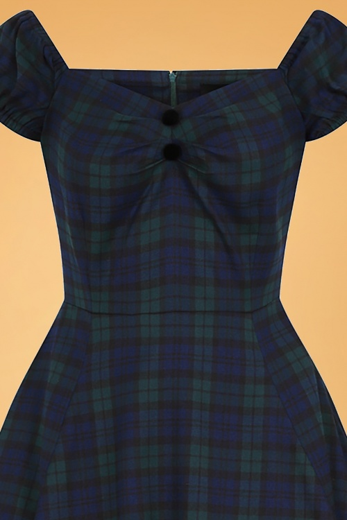 Dolores In 50s Doll Clothing Blackwatch Dress Green Navy Collectif And 7YyIbgvf6