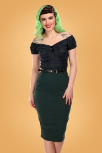 Collectif 29879 Dianne Pencil Skirt in Green 20190430 020L