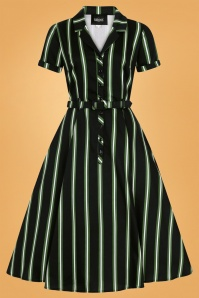 Caterina Witch Stripes Swing Dress Années 50 en Noir