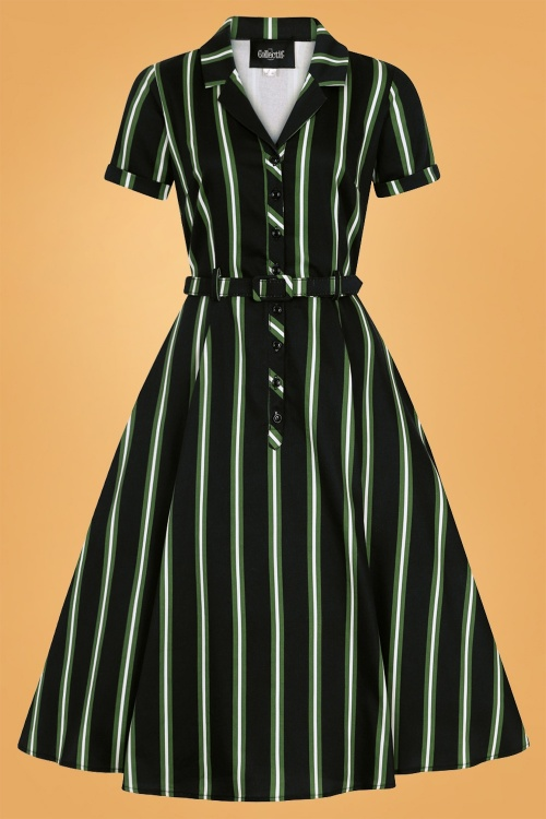 Collectif 29857 Caterina Witch Stripes Swing Dress in Black 20190715 020LW