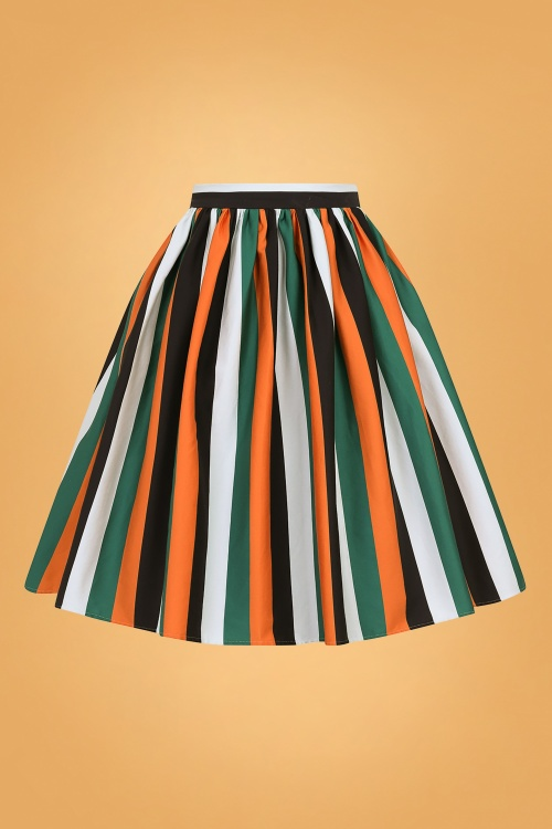 Collectif 29814 Jasmine Pumpkin Stripe Swing Skirt in Multi 20190715 020LW