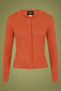 50s Leah Vintage Leaves Cardigan in Burnt Orange