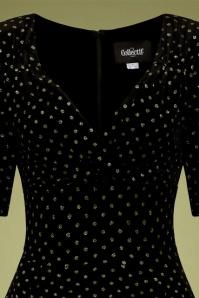 Collectif 29846 Trixie Golden Polka Velvet Doll Swing Dress in Black 20190715 020LV