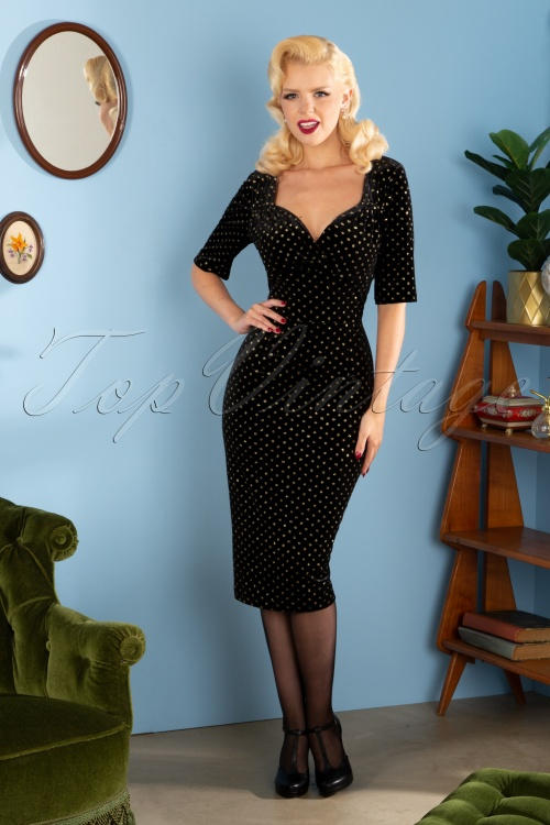 Collectif 29839 Trixie Golden Polka Velvet Pencil Dress in Black 20190715 192W