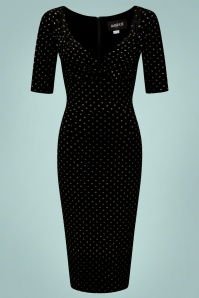 b594860b711aff ... Collectif 29839 Trixie Golden Polka Velvet Pencil Dress in Black  20190715 020LW