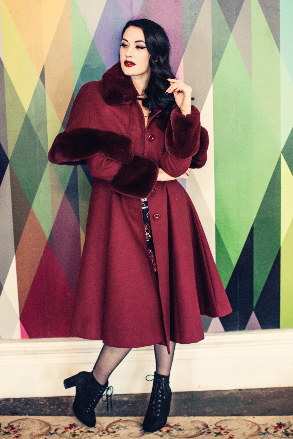 1930s Dresses, Shoes, Lingerie, Clothing UK 30s Capulet Coat in Wine £162.18 AT vintagedancer.com