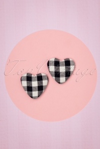 Collectif Clothing 50s Bobby Heart Studs in Black and White