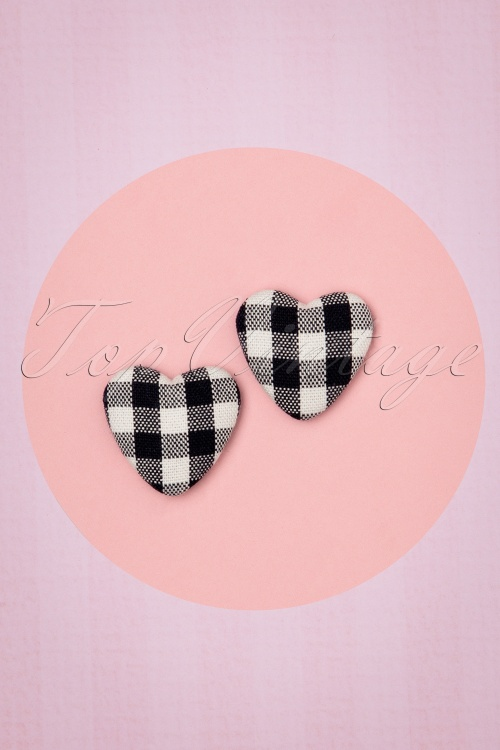 Collectif 30465 Studs Heart Bobby Black White 20190715 0007W