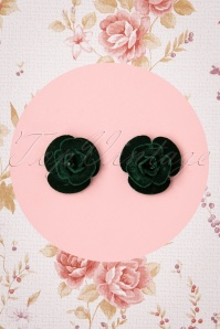 Collectif Clothing 50s Velvet Rose Earstuds in Dark Green