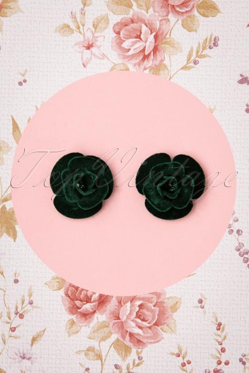 Collectif 30467 Roses Studs Green Velvet 20190715 0002W