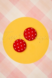Collectif Clothing 50s Lois Polkadot Earstuds in Red