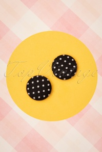 Collectif Clothing 50s Lois Polkadot Earstuds in Black
