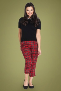 Bunny 50s Irvine Tartan Cigarette Trousers in Red