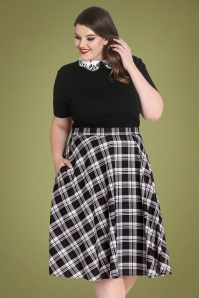 50s Manchester Tartan Swing Skirt in Black and White