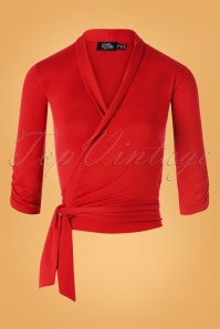 50s Ceri Wrap Top in Dark Red